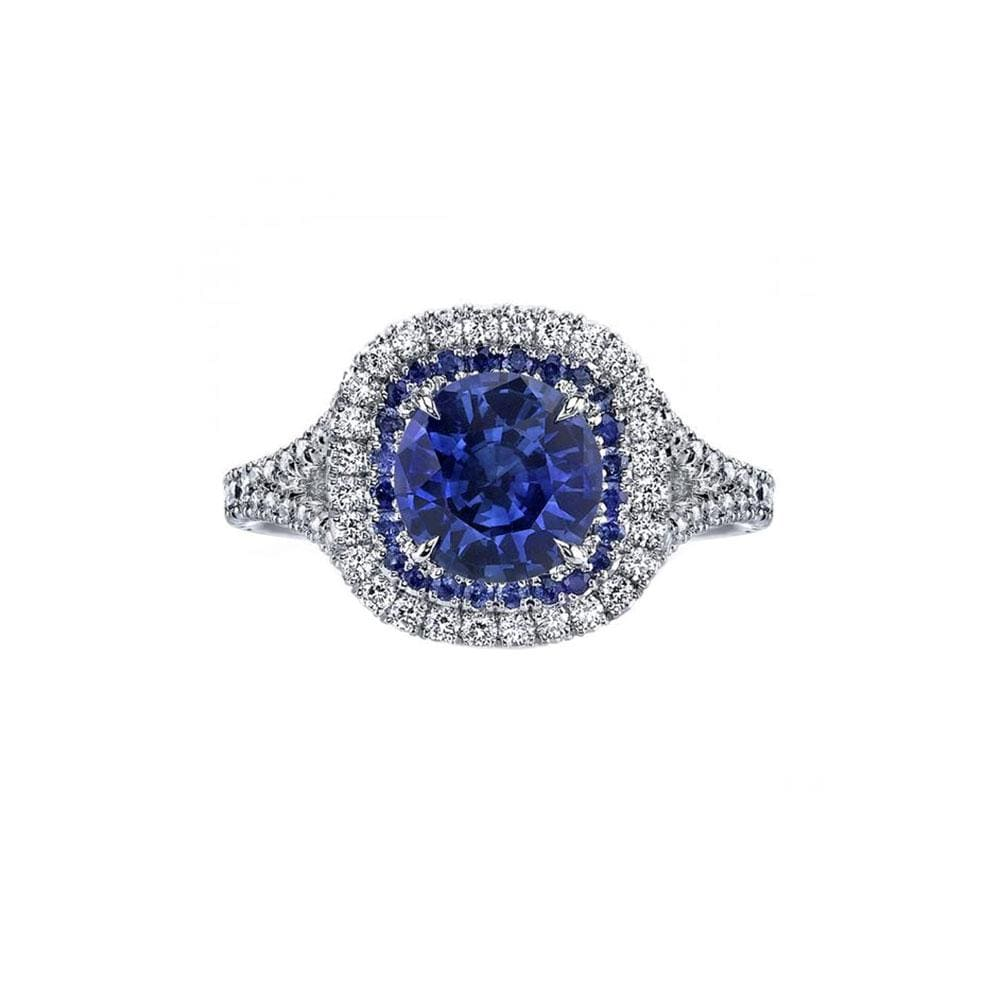 Round Blue Sapphire and Diamond Ring