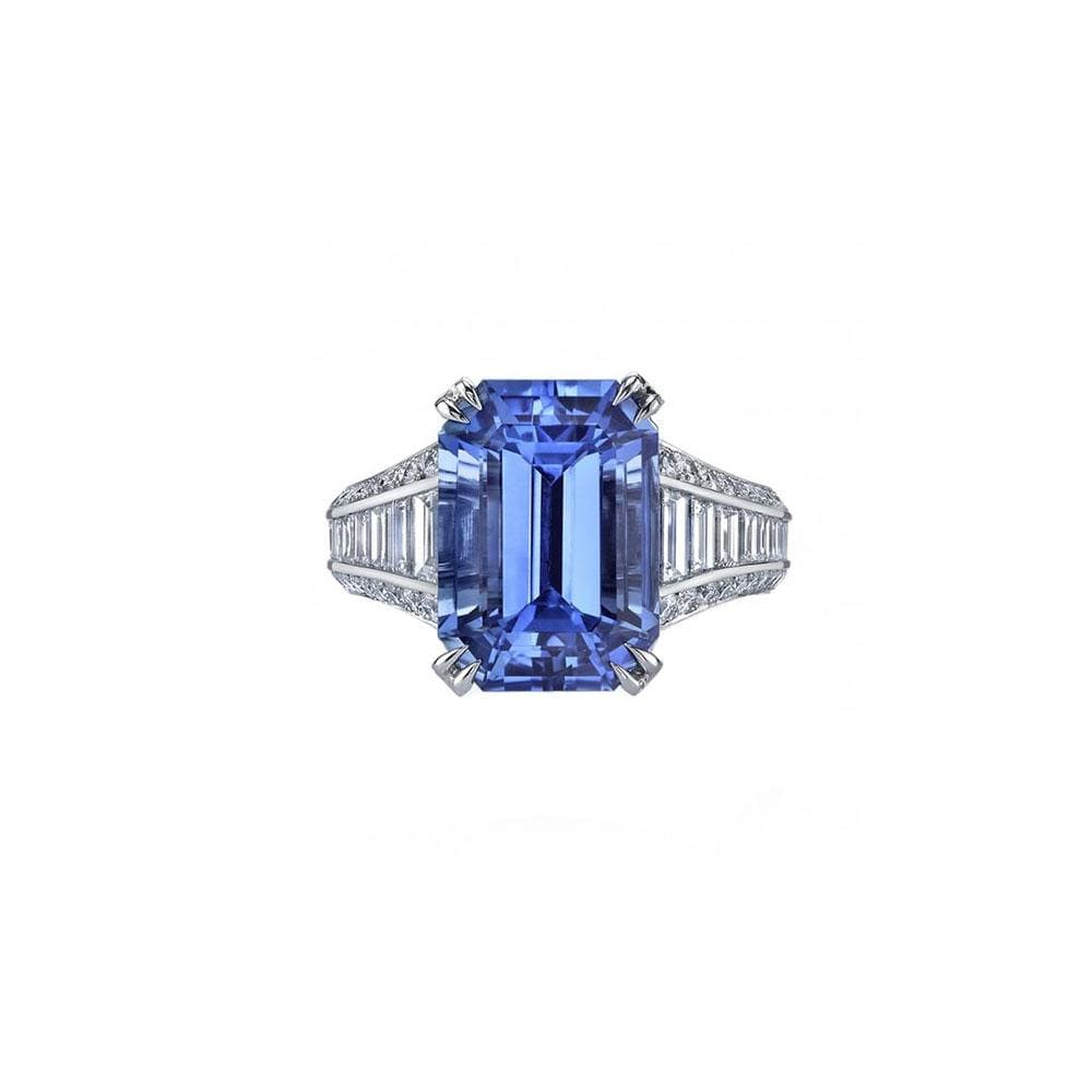 Emerald Cut Blue Sapphire and Diamond Ring