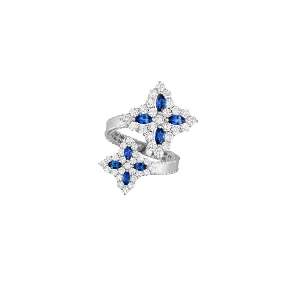 Blue Sapphire and Diamond Princess Flower Bypass Ring