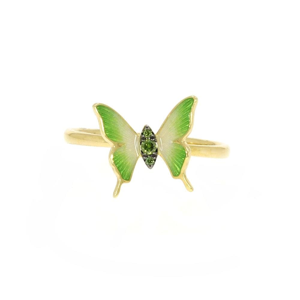 Green Diamond Butterfly Ring