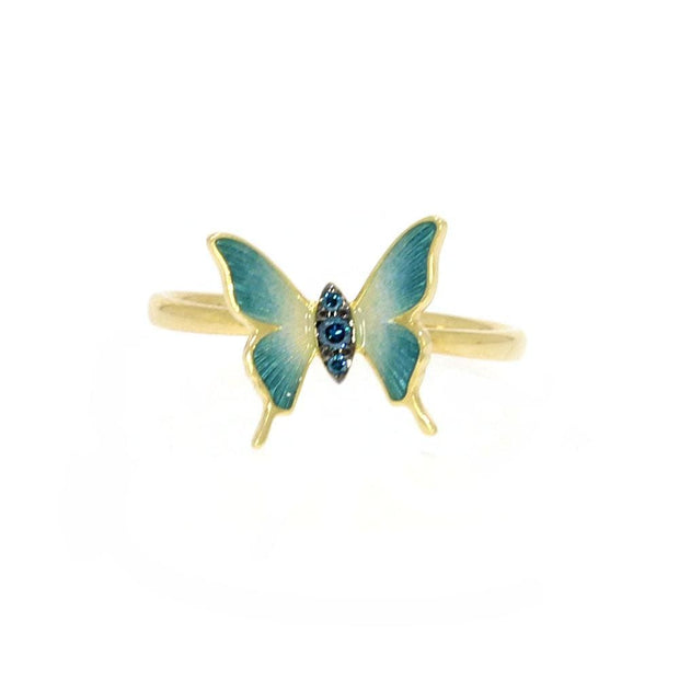 Blue Diamond Butterfly Ring