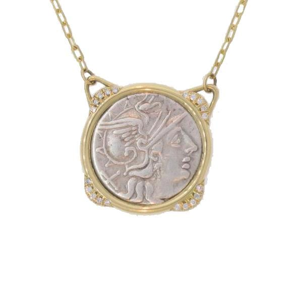 Diamond Roman Republic Coin Necklace