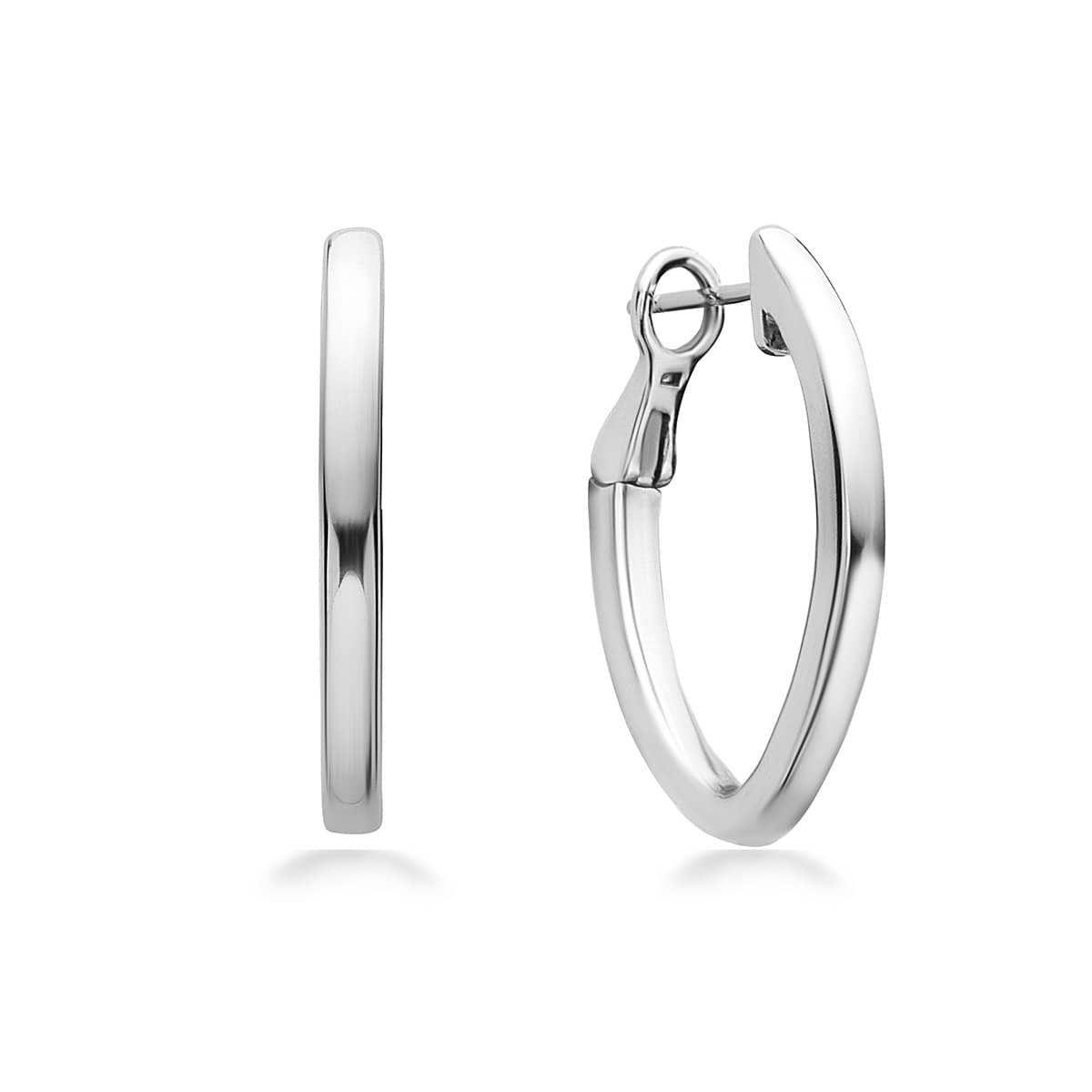 14K White Gold & Sterling Silver 27MM Hoop Earrings