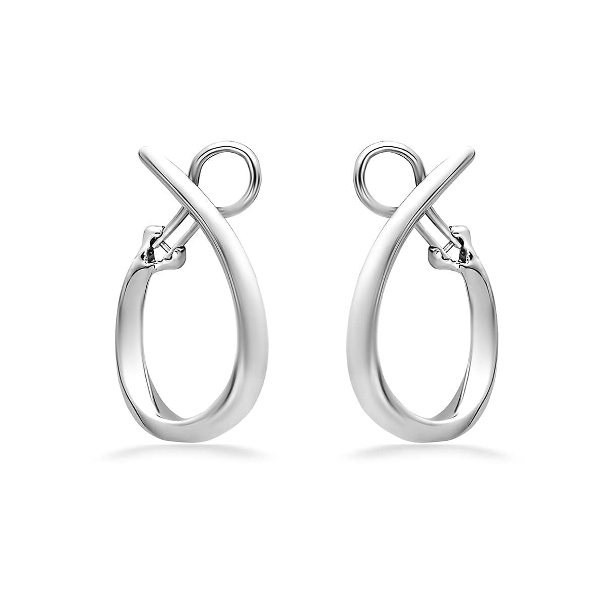 14K White Gold & Sterling Silver 33MM Hoop Earrings