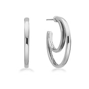 14K White Gold & Sterling Silver Double Hoop Earrings
