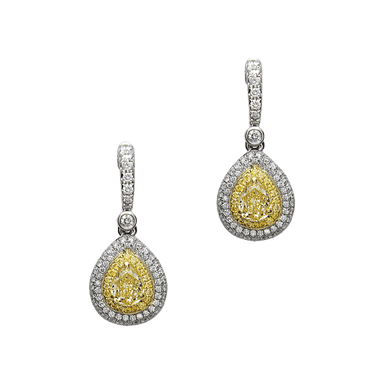 Fancy Yellow and White Diamond Precious Pastel Earrings