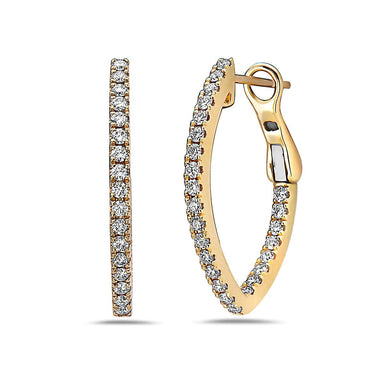18K Yellow Gold Diamond Almond Shaped Earrings