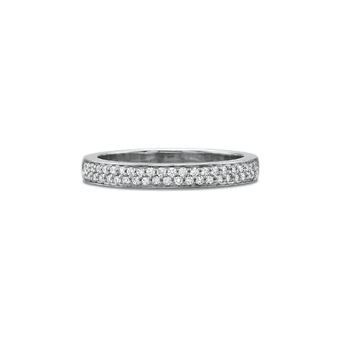 Petite FlushFit Pave Set Platinum Band