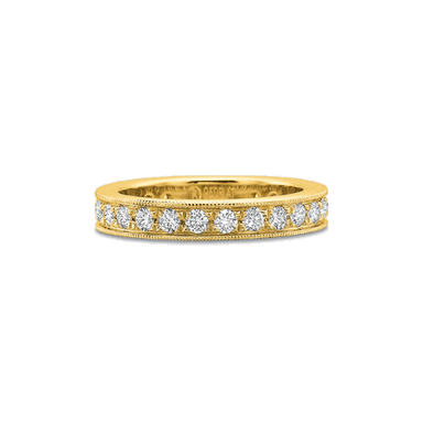 Classic Bead Set Yellow Gold Band