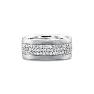Classic Pave Set White Gold Band