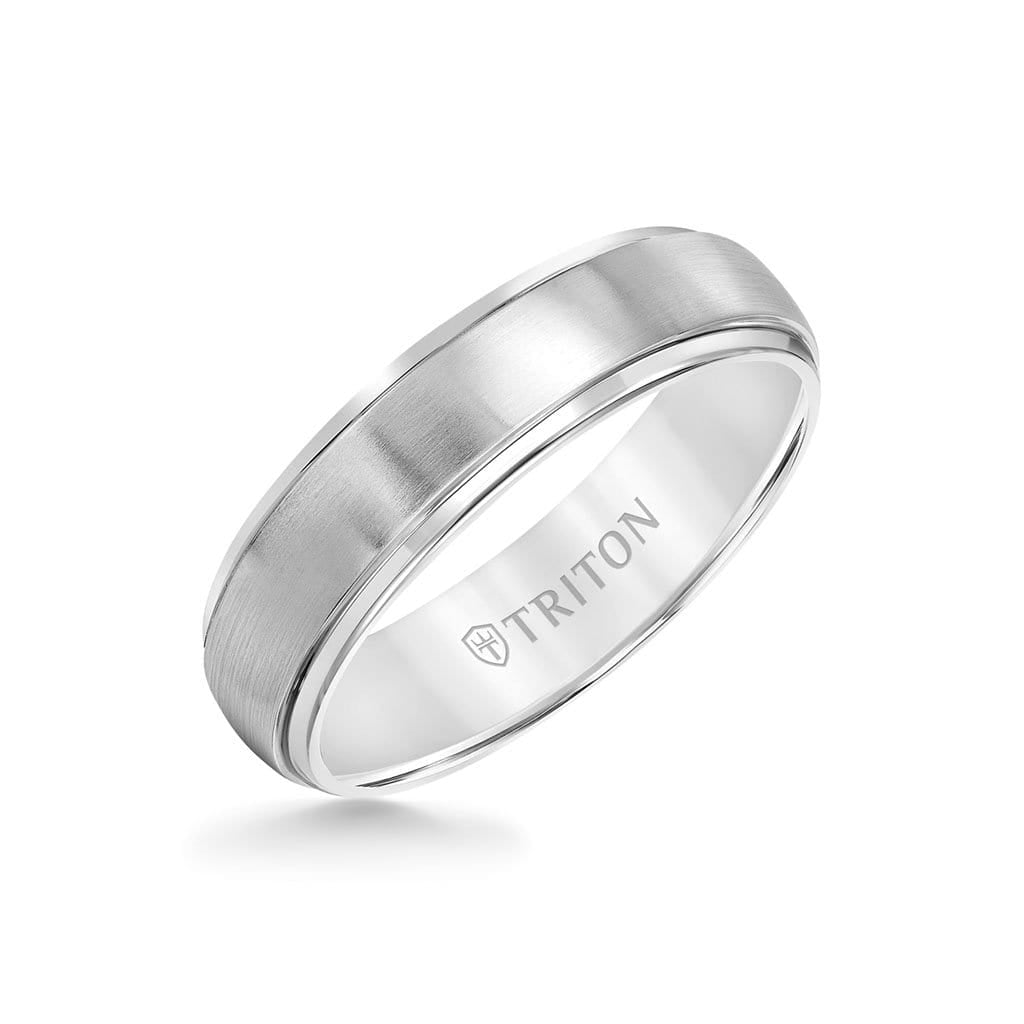 6MM Titanium Ring - Domed Satin Center and Step Edge