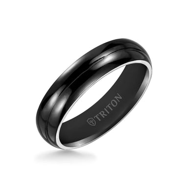 6MM Titanium Ring - Domed Black Satin Center and Bevel Edge