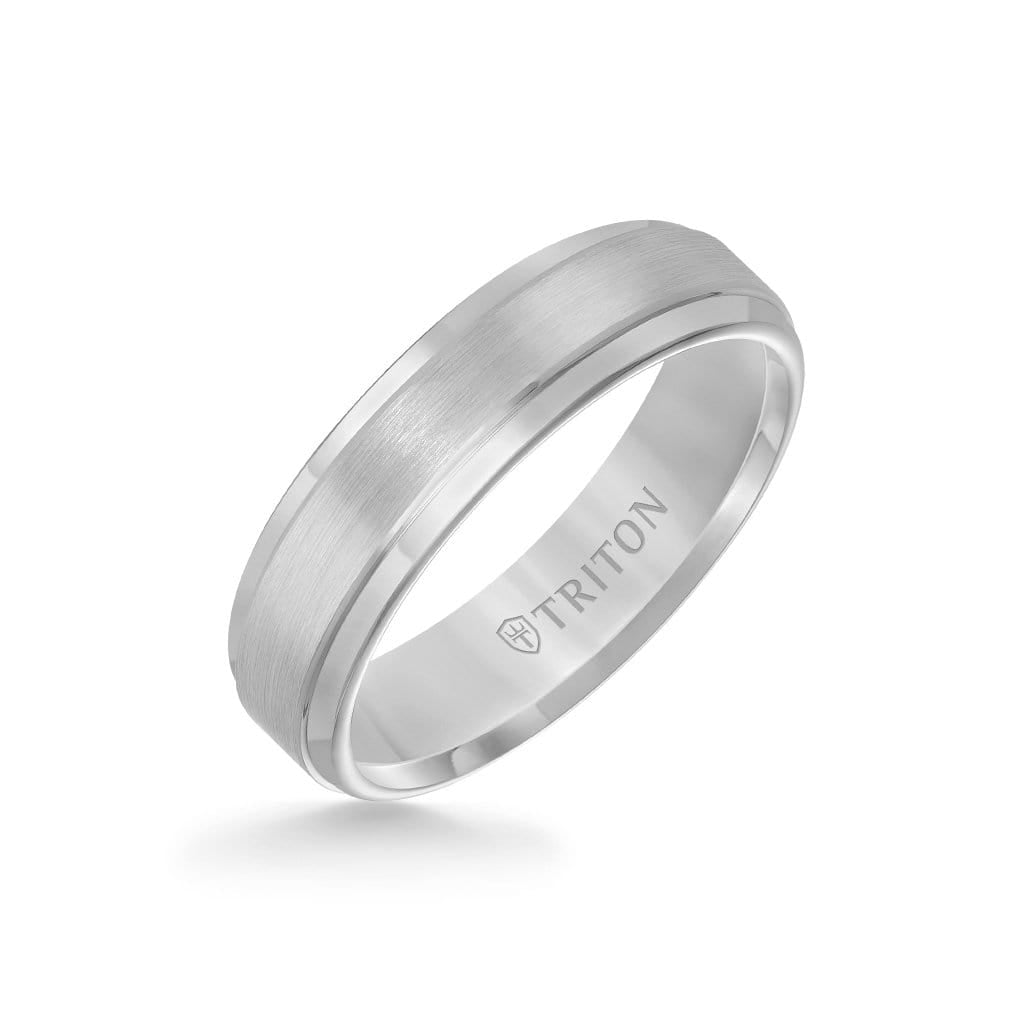6MM Tungsten Carbide Ring - Satin Finish Center and Step Edge