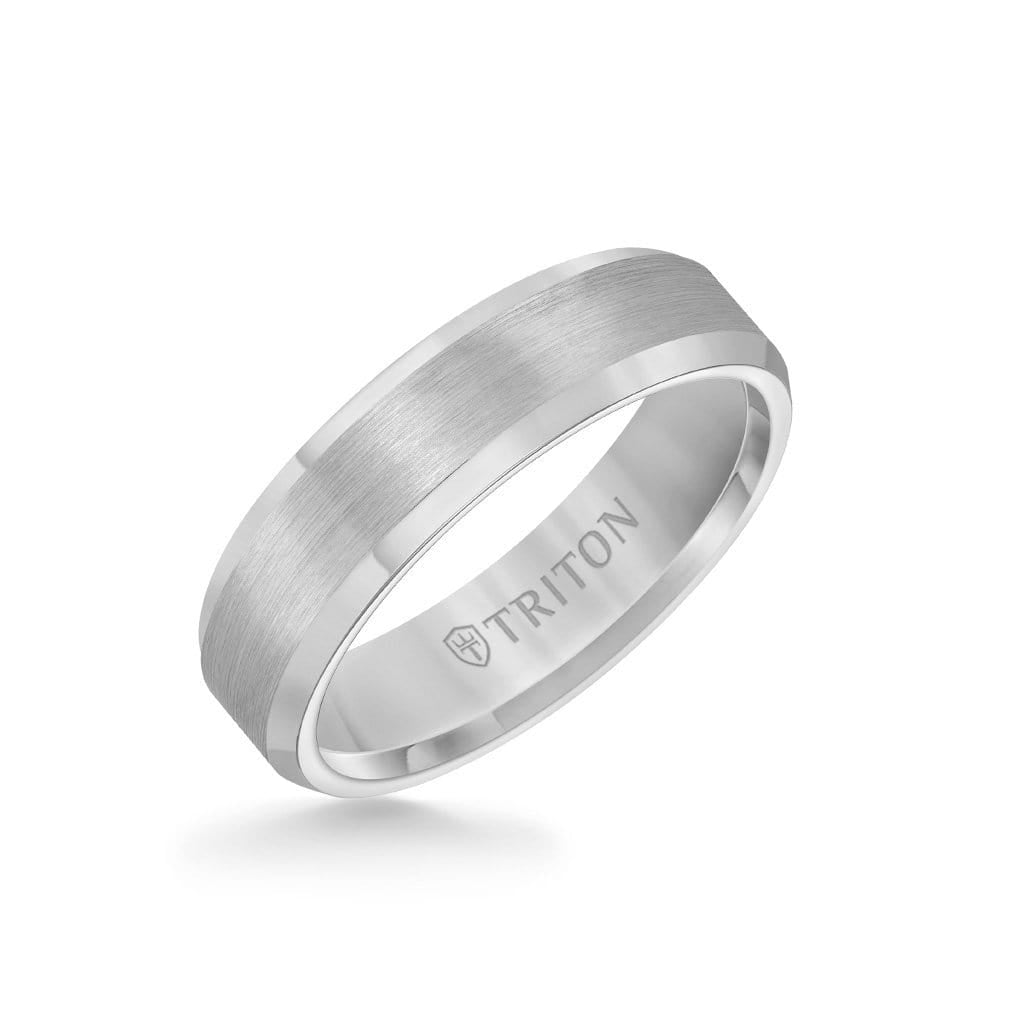 6MM Tungsten Carbide Ring - Satin Center and Bevel Edge