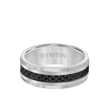 8MM Ring - Black Carbon Fiber Center and Step Edge