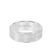 8MM Tungsten Carbide Ring - Satin Finish Center and Bevel Edge
