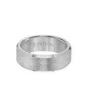 8MM Tungsten Carbide Ring - Bright Finish and Bevel Edge