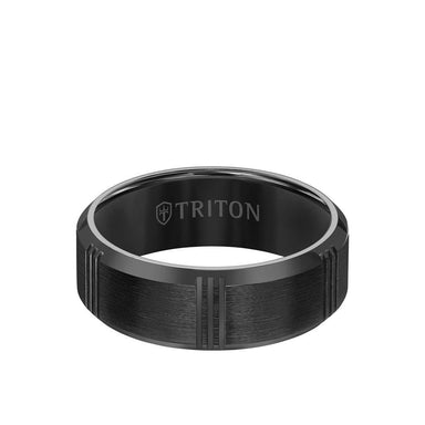 8MM Titanium Ring - Vertical Cut Center and Bevel Edge