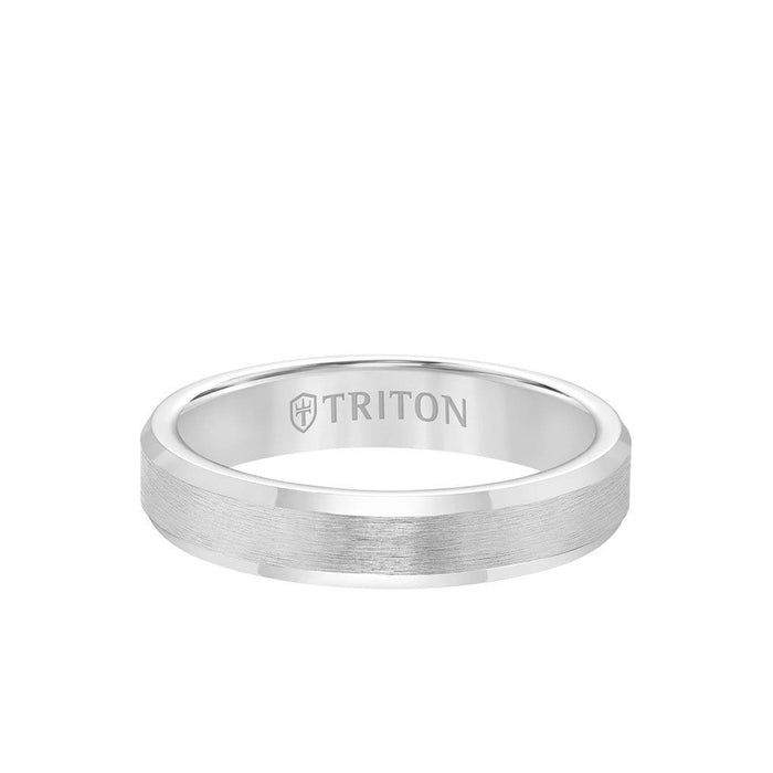 4MM Tungsten Carbide Ring - Brush Finish and Bevel Edge