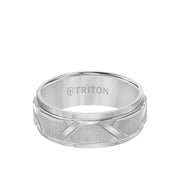 8MM Tungsten Carbide Ring - Wire Brush Center with Diagonal Cuts and Step Edge