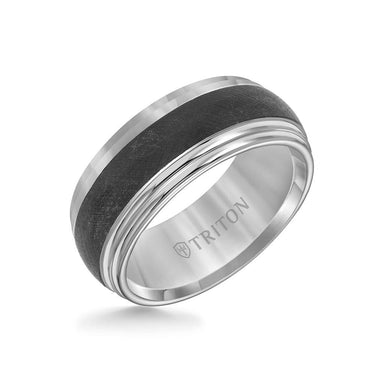 9MM Tungsten Carbide Ring - Domed Florentine Center and Step Edge