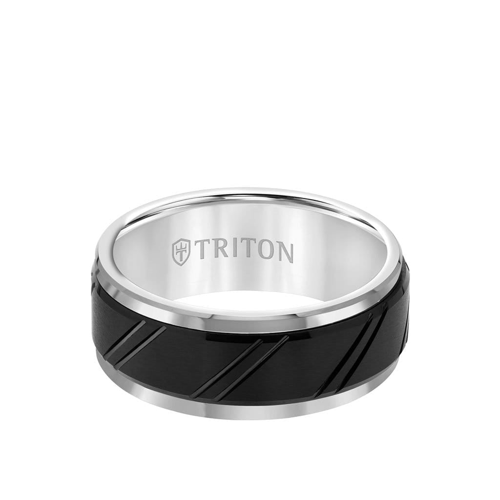 9MM Tungsten Carbide Ring - Diagonal Cut Center and Bevel Edge