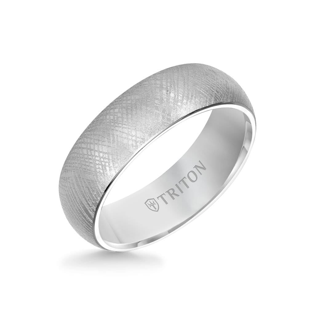 7MM Tungsten Carbide Ring - Florentine Center and Bevel Edge