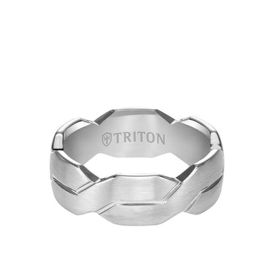 8MM Tungsten Carbide Ring - Woven Pattern