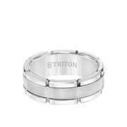 8MM Tungsten Carbide Ring - Flat Brushed Center and Link Edge