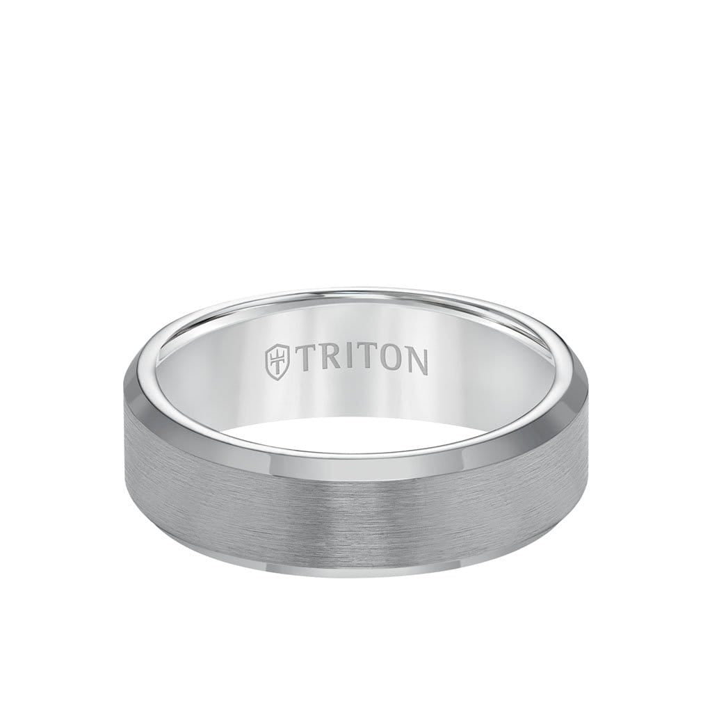 7MM Tungsten Carbide Ring - Link Edge and Bevel Edge