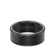 9MM Tungsten Carbide Ring - Satin Center and Round Edge