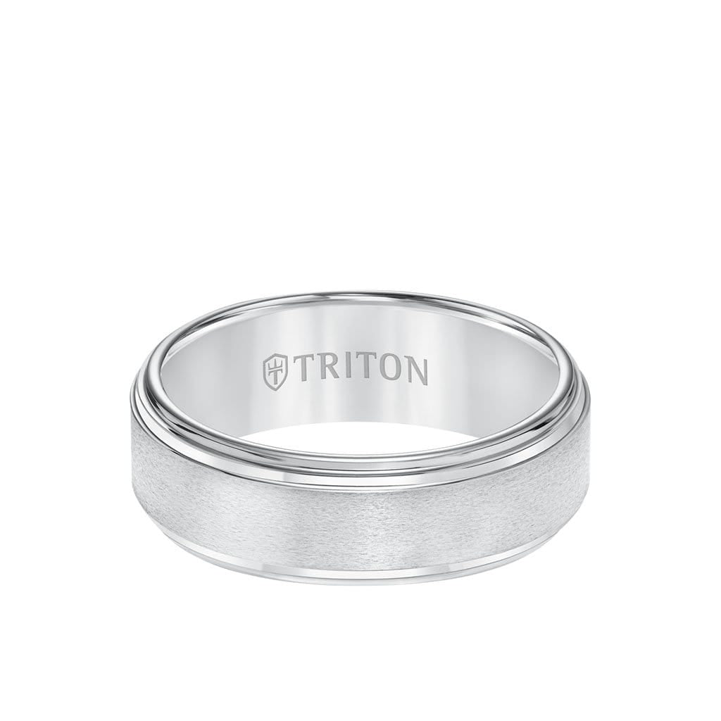 8MM Tungsten Carbide Ring - Satin Center and Double Step Edge