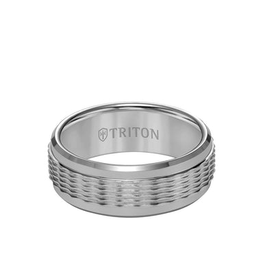 8MM Tungsten Carbide Ring - Wavy Sand Center and Round Edge