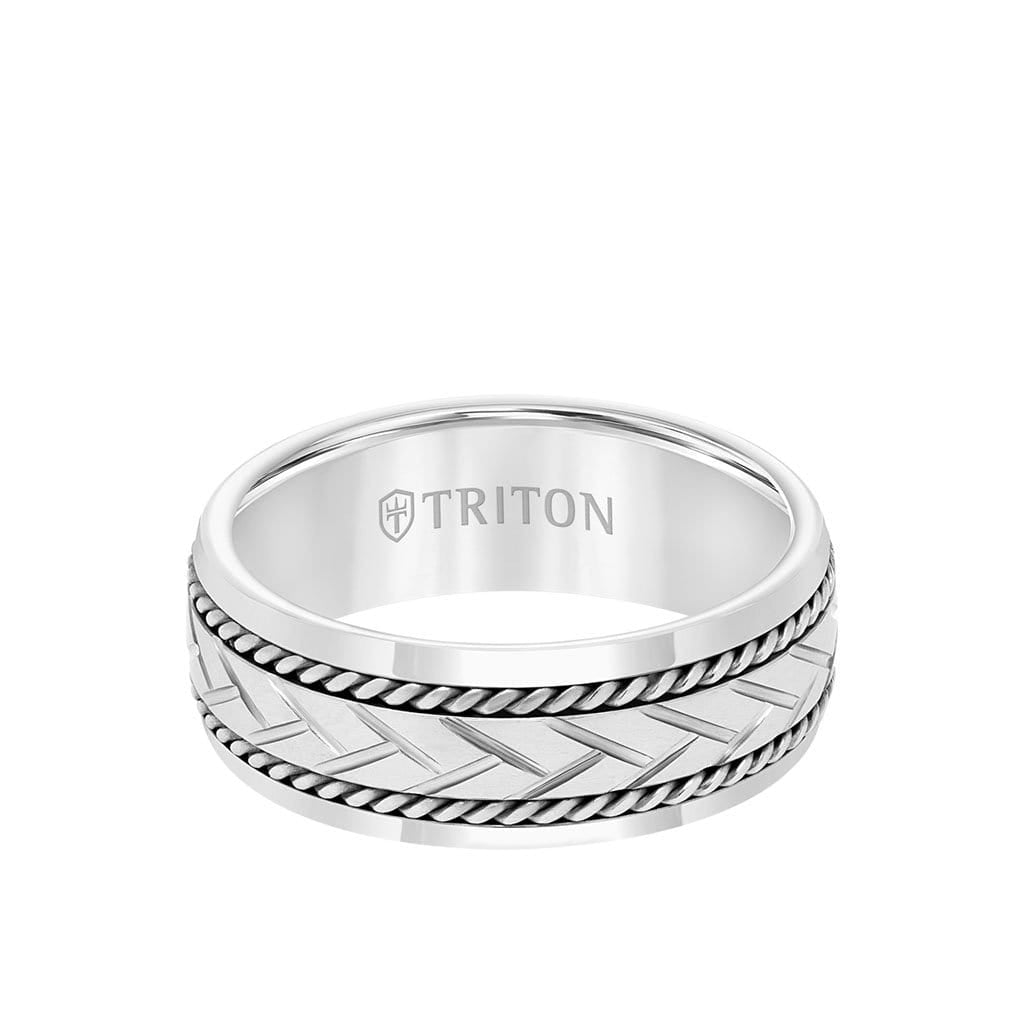 8MM Tungsten Carbide Ring - Woven Cut Center and Bevel Edge