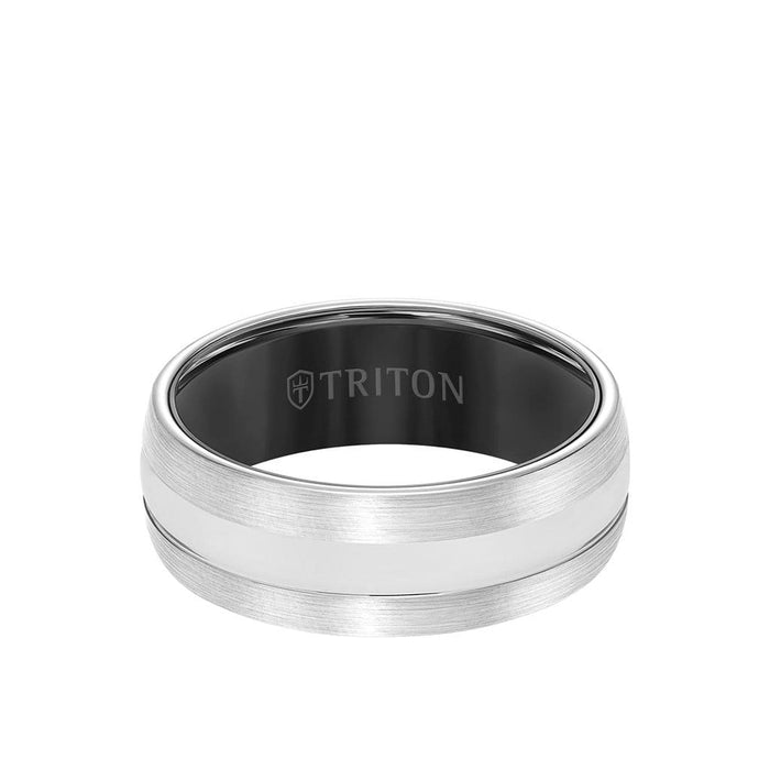 8MM Tungsten Carbide Ring - Domed Two Tone and Bevel Edge
