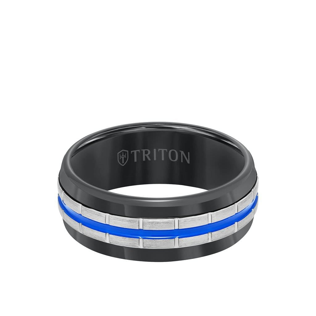 8.5MM Tungsten Carbide Ring - Center Stripe and Flat Edge