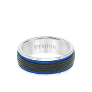 8MM Tungsten Carbide Ring - Ribbed Center Stripe and Bevel Edge