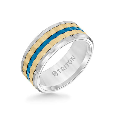 9MM Tungsten Carbide Ring - Basketweave Center & Bevel Edge
