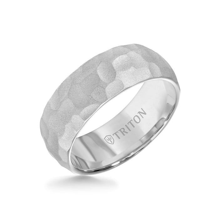 8MM Tungsten Carbide Ring - Hammered Edge To Edge