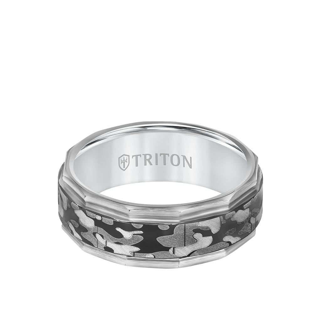 8MM Tungsten Carbide Ring - Camo Pattern and Faceted Edge