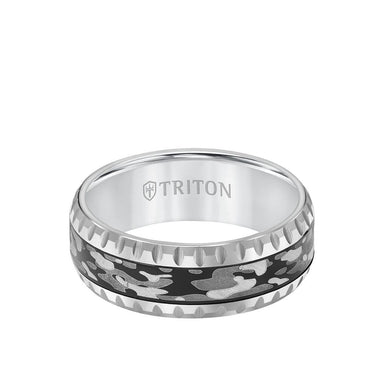 8MM Tungsten Carbide Ring - Camo Pattern and Round Edge