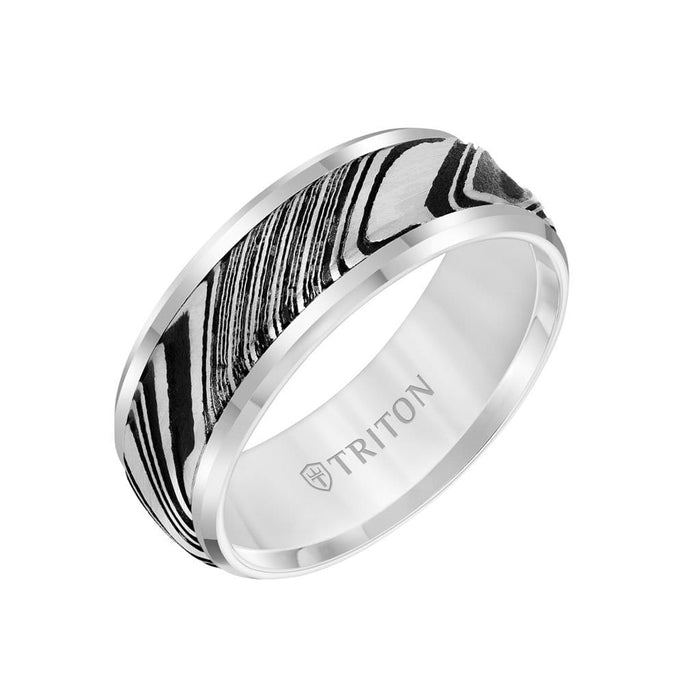 8MM Tungsten Carbide Ring - Damascus Steel with Bevel Edge