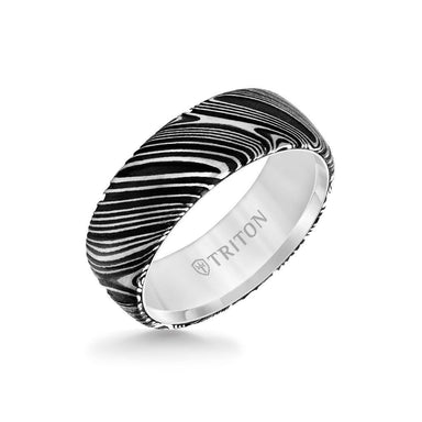 8MM White Tungsten Carbide Ring with Damascus Steel