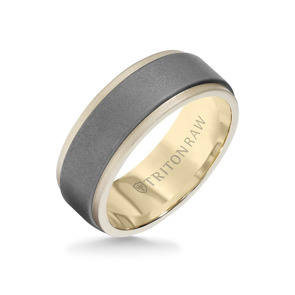 FB Jewels Tungsten Brushed Center Cross Step Edges Mens Comfort-fit 8mm Wedding Anniversary Band Ring