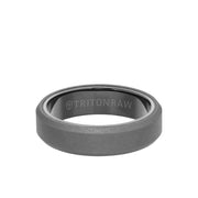 Tungsten Raw 6mm Sanblasted Bevel Edge Band