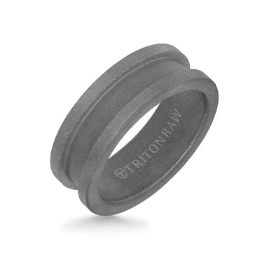 8MM Tungsten Raw Ring - Sandblasted Matte Finish and Slot Profile