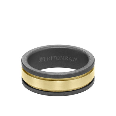 8MM Tungsten Raw + 14K Matte Yellow Gold Ring with Flat Edge