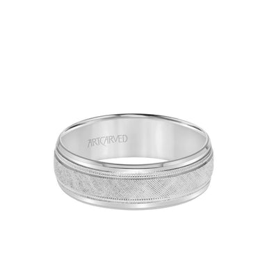 7MM Men's Classic Wedding Band - Etched Finish with Milgrain and Bevel Edge