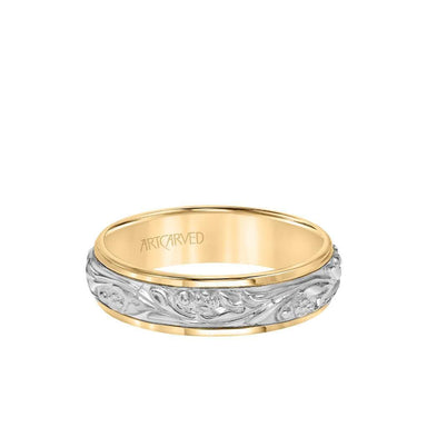 6MM Men's Wedding Band - Intricate Engraved Scroll Design and Rolled Edge