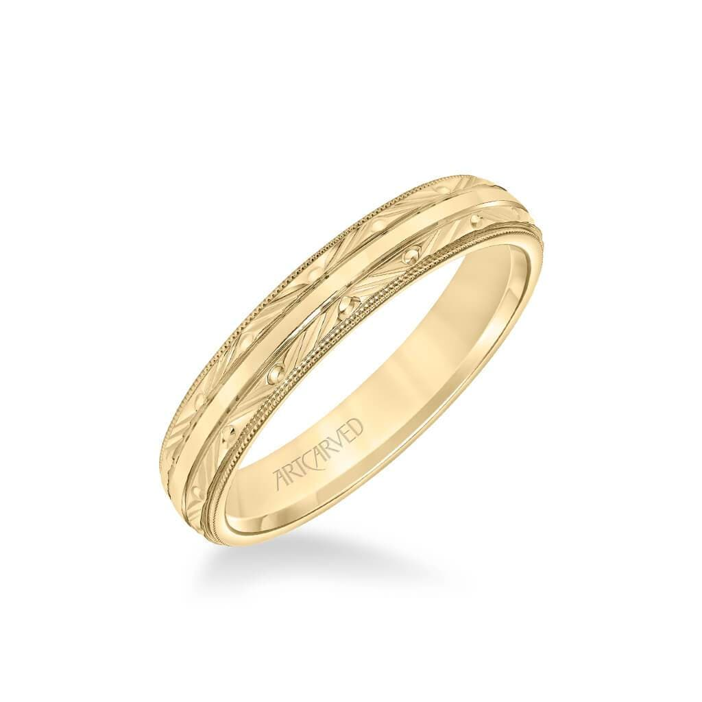 4MM Men's Wedding Band - Swiss Cut Engraved Design with Milgrain and Flat Edge